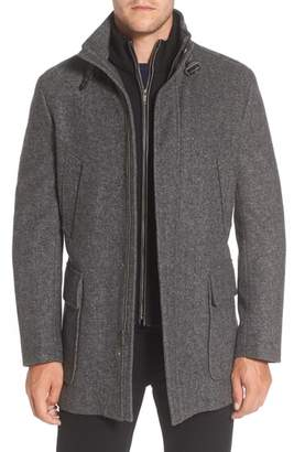 Cole Haan Wool Blend Car Coat with Removable Knit Bib