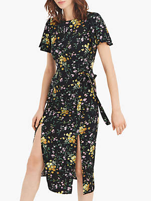 Oasis Floral Split Dress, Black Multi