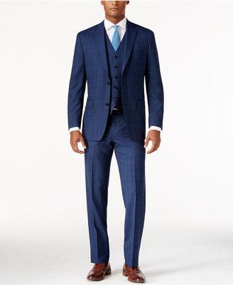 MICHAEL Michael Kors Men's Classic-Fit High Blue Plaid Vested Suit $695 thestylecure.com