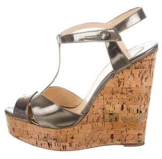 Christian Louboutin T-Strap Wedge Sandals