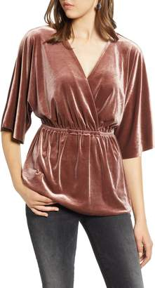 Halogen Faux Wrap Velvet Top