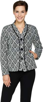 Bob Mackie Button Front Printed Fleece Jacket with Pockets