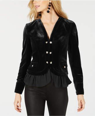 INC International Concepts I.n.c. Velvet Military Jacket, Created for Macy's