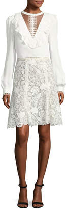 Monique Lhuillier Floral Guipure Lace Knee-Length Skirt