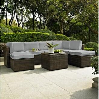 Mercury Row Belton 8 Piece Rattan Sectional Set with Cushions Mercury Row Fabric: Grey