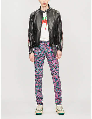 Gucci Side-stripe leather biker jacket