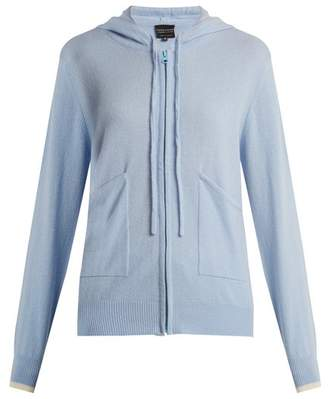 Pepper & Mayne - Zip Through Hooded Cashmere Sweater - Womens - Light Blue