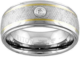 MODERN BRIDE Unisex 9M Diamond Accent Genuine White Diamond 14K Gold Tungsten Round Wedding Band