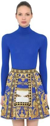 Versace Wool Rib Knit Turtleneck Sweater