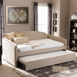 Baxton Studio Lanny Modern and Contemporary Fabric Nail Heads Trimmed Arched Back Sofa Twin Daybed with Roll-Out Trundle Guest Bed, Multiple Colors