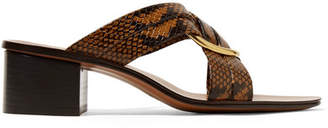 Chloé Rony Embellished Snake-effect Leather Mules - Snake print