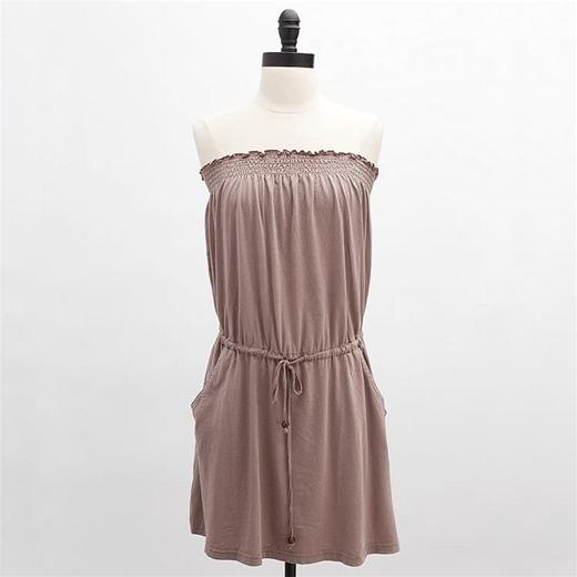 Bobi Tube Top Drawstring Dress