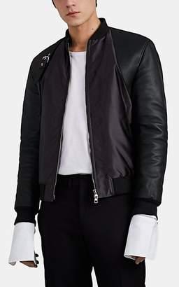 Alexander McQueen Men's Tech-Twill & Leather Bomber Jacket - Gray