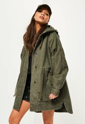 Khaki Washed Effect Utility Parka Coat $80 thestylecure.com