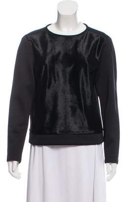 Tibi Calf Hair Long Sleeve Top
