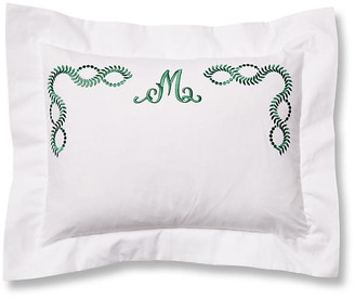 Hamburg House Wheat Monogram Boudoir Sham - White/Green