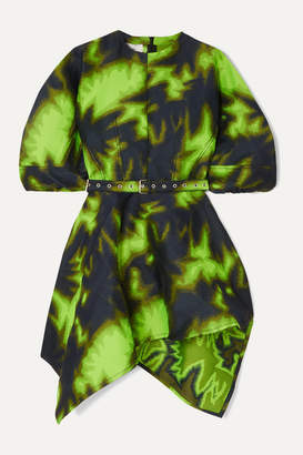 Marques Almeida Marques' Almeida - Belted Asymmetric Printed Brocade Mini Dress - Lime green