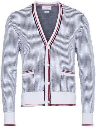 Thom Browne Seersucker Jacquard Button Front Cardigan