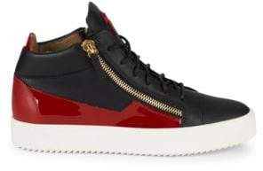 75665b02fec36 Giuseppe Zanotti Double Zip Leather Mid-Top Sneakers