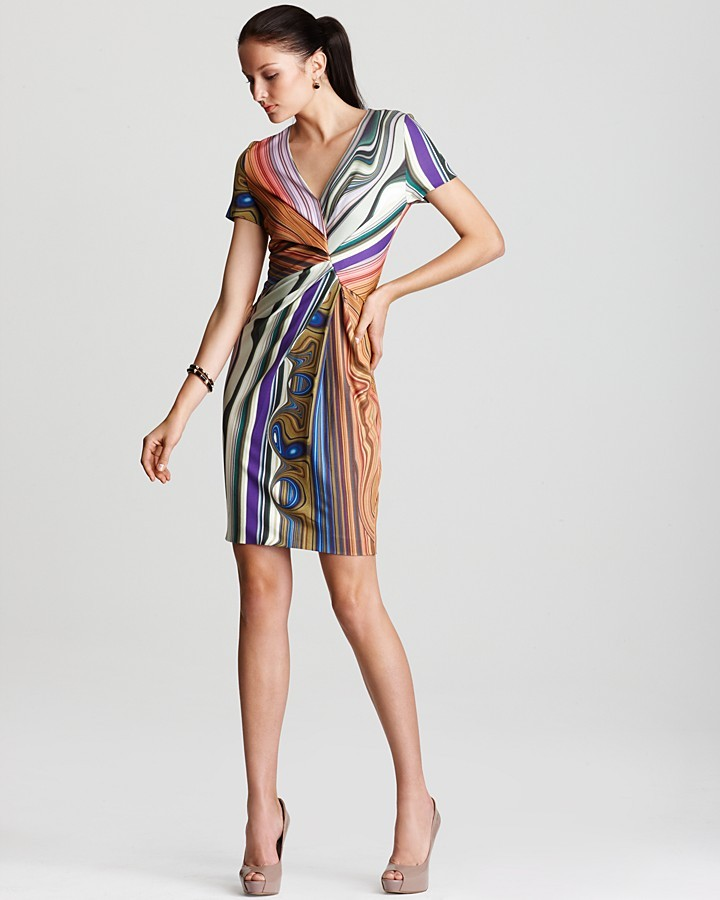 Escada Printed Dress - Short Sleeve Dress with Wrap Detail