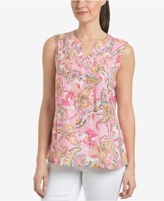 NY Collection High-Low Pintucked Top
