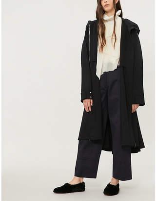 Jil Sander Hooded fleece-wool parka coat