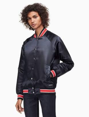 Calvin Klein striped varsity bomber jacket