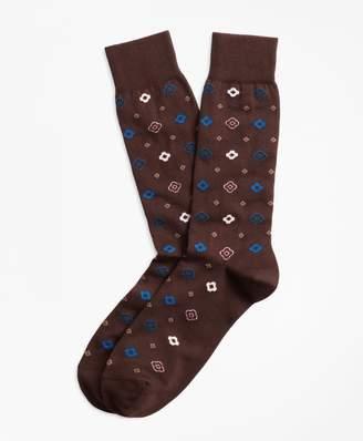 Brooks Brothers Geometric Print Crew Socks