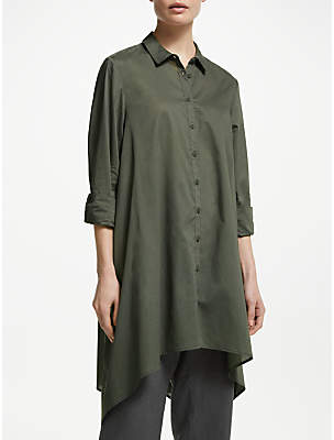 John Lewis & Partners Cotton Handkerchief Hem Long Shirt