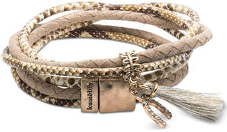 lonna & lilly Gold-Tone Pave Wishbone & Tassel Magnetic Wrap Bracelet