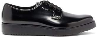 Prada Raised Sole Patent Leather Derby Shoes - Mens - Black