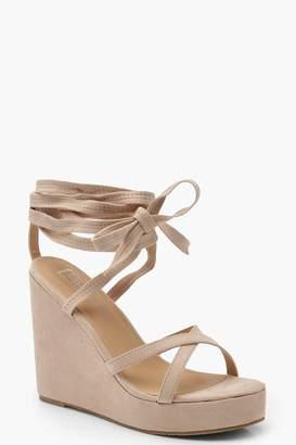 boohoo Wrap Ankle Strap Wedge Heels