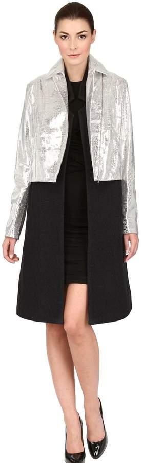 Laminated Leather & Wool Cloth Coat