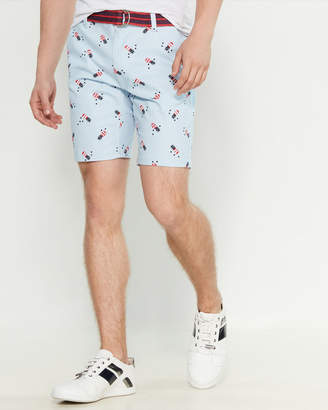 Raw Yarn Industries American Pineapple Belted Stretch Twill Shorts