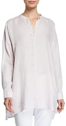 Eileen Fisher Band-Collar Button-Down Long-Sleeve Handkerchief Linen Shirt, Petite