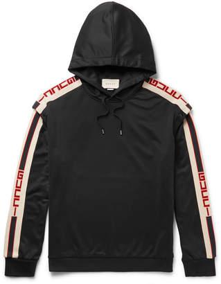Gucci Webbing-Trimmed Tech-Jersey Hoodie - Men - Black