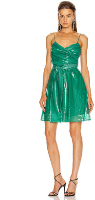 MSGM Sequined Ruched Mini Dress in Green | FWRD