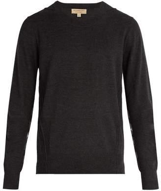 Burberry Checked Merino Wool Sweater - Mens - Charcoal