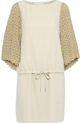 See by Chloe Crochet Knit-paneled Crepe Mini Dress
