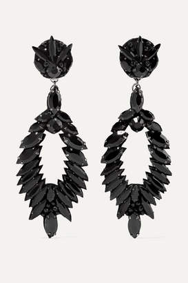 Ranjana Khan Crystal Clip Earrings - Black