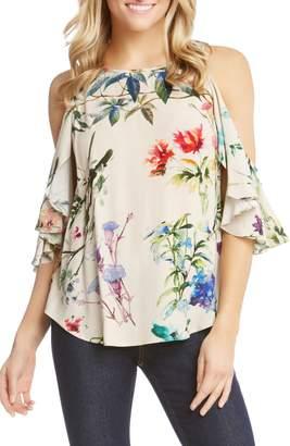 Karen Kane Cold Shoulder Ruffle Sleeve Floral Blouse
