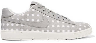 Nike - Tennis Classic Ultra Polka-dot Embroidered Canvas Sneakers - Light gray $150 thestylecure.com