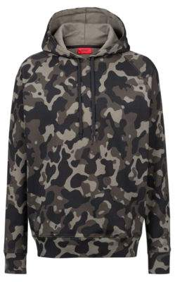 HUGO Boss Oversized-fit hooded sweatshirt in camouflage-print cotton M Patterned