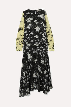 Preen Line Marin Floral-print Georgette Maxi Dress - Black