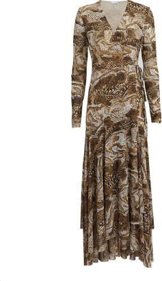 Ganni Marble Print Mesh Wrap Dress