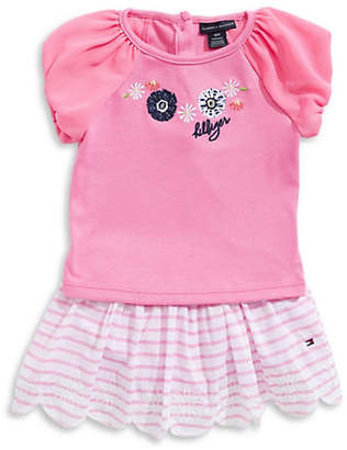 Tommy Hilfiger Little Girl's Embroidered Top and Striped Skirt Set
