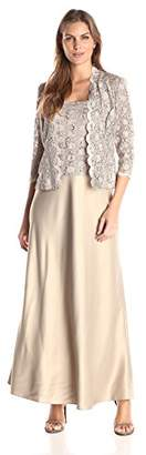 Alex Evenings Women's Mock Two-Piece Lace Charmeuse Jacket Dress