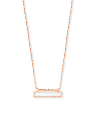 Kendra Scott Leanor Rose Gold Pendant Necklace in Sand Drusy