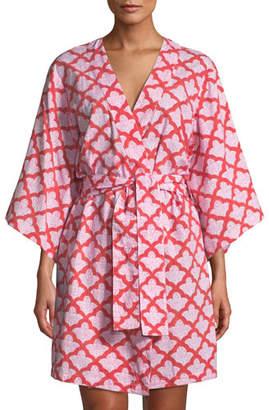 Roller Rabbit Jemina Short Kimono Robe, Red