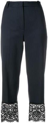 Pinko lace hem cropped pinstripe trousers